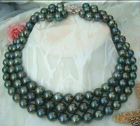 Wholesale Rows MM Black Akoya Cultured Pearl Necklace No