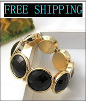 Wholesale fashion black and white diamond bracelet with gold plated overlock