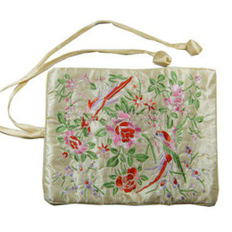 Embroidery Flower Birds Jewelry Travel Roll Up Bag Large Portable Cosmetic Bag Zipper Drawstring Makeup Storage Bag Pouch