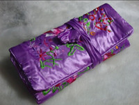 Wholesale Hot Sell Jewelry Roll Bag Jewellery Packaging Silk Embroidery Travel Jewelry Pouch mix Free
