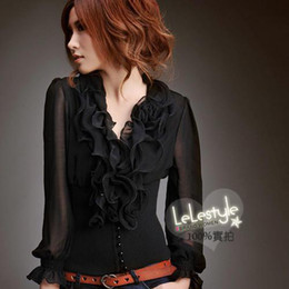 Wholesale Hot promotion Princess Chiffon Sleeves Classic Japan Black Shirt Women s Clothing M