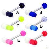 Wholesale New Arrival UV Acrylic Pill Tongue Ring Mixed Color Fashion Body Piercing Jewelry