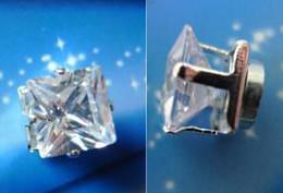 MEN earrings 6mm square Transparent MAGNETIC Zircon earrings clip earring fashion jewellery