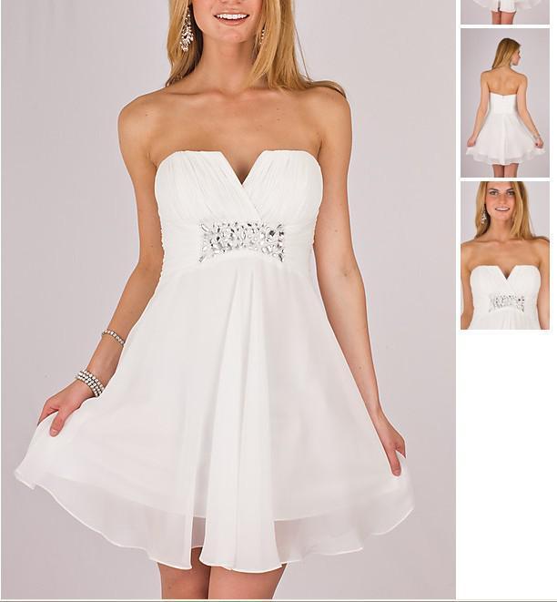 Cheap White Strapless Cocktail Homecoming Dresses Beaded V Neck ...