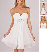 Corset apple pl - Cheap White Strapless Cocktail Homecoming Dresses Beaded V Neck Ruched Chiffon A Line Sleeveless Mini Short Party Gown PL Custom Made
