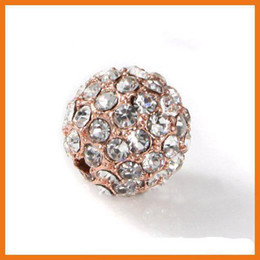 Free Shipping Wholesales Alloy Brass 18k Rose Gold Plated Iced Out Bead Jewelry Crystal Bead 10mm
