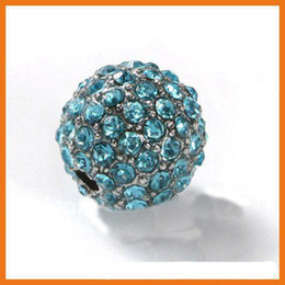 Free Shipping Wholesales Alloy Brass Aquamarine Iced Out Bead Crystal Ball Jewelry Bead 10mm