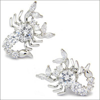 Wholesale Silver Plated scorpions cufflinks stainless steel Crystal zircon high grade