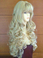 African-American Wigs hair wigs wholesale - Blonde mix quot Stylish Full Long Straight synthetic wigs women s hair wigs party wig