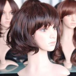 Wholesale Kanekalon European - Stylish brown Full Long Curly Women's Wig wigs Kanekalon Hairpiece women's hair wigs wig 10pcs lot