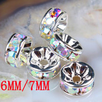 Other beads ab - 6MM MM Wheel Shaped Crystal AB Rhinestone Crystal Spacer Beads Jewelry Findings Rondelle Beads