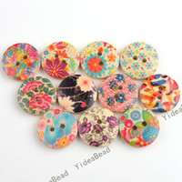Cheap 160PCS Hot Sale Mixed Colorful Flowers Wooden Buttons Fit Clothes Accessories Have in Stock 110628