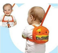 Wholesale 25pcs Orange Baby Walkers keeper safety harness Backpack Strap Toddler Reins Backpack happy burger