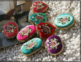 Pretty Oval Silk Folding Compact Mirrors Women's Party Favor Embroidered Double sided Makeup Mirror 10pcs lot mix color Free shipping