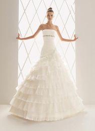 Wholesale Aire Balada elegant A line beading strapless zipper closure organza Bride gowns Wedding Dresses