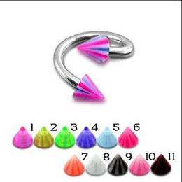 Wholesale Twist Cone Labret Ring UV Acrylic Ball Lip Piercing Labret Studs Earring G Mixed Color