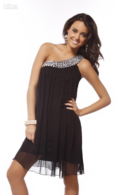 Short Black Dress Chiffon One Shoulder Black Beaded Dress 47147 ...