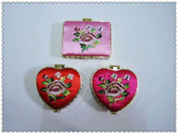 Wholesale Cheap Pocket Mirrors Stock Silk Embroidery Double side mix color Free
