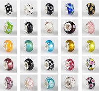 Wholesale 50pc mix style Murano Lampwork Glass European Beads Fit Charm Hand chain