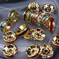 al por mayor crystal rondelle beads-Granos del espaciador en forma de rueda 10MM multicolor Rhinestone Crystal joyas , Rondelle