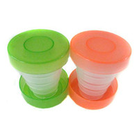 Wholesale 300pcs Plastic folding travel cup Colorful collapsible cup magic travle cup