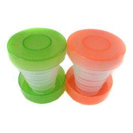 Wholesale 300pcs Plastic folding travel cup Colorful collapsible cup magic travle cup
