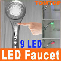 Wholesale LED Faucet Shower Head with Automatic light switch Sprinkler Color Changing H4518