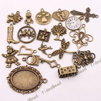 Wholesale 120 Mixed Shape Charms Pendants Beads Antique Bronze Tone Pandent Fit CHAINS Necklace
