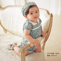 Wholesale Girl s One piece Romper Blue and white spots children sportswear Headpiece Teddy