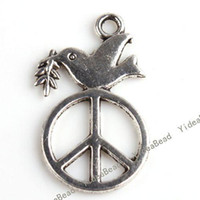 Wholesale 100x FREE SHIP Peace Dove Zinc Alloy Silver Tone Charms Pendants Fit Necklaces Have in Stock
