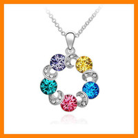 6 pcs Lot Jewelry fashion Crystal wreath pendant Colorful + G...