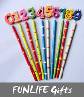 Wholesale funlife Novelty Back to School sets Numbers Early Learning Kids Cartoon Wooden Pencil