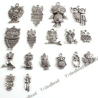 Wholesale 68pcs Hot Sale Assorted Mixed Owls Silver Tone Charms Pendants Fit Necklaces Have in Stock