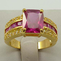 band ruby - Brilliant women s jewelry ruby diamond plated gold ring