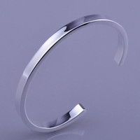 Wholesale silver new fashion smooth open up Sterling Silver Cuff bracelet