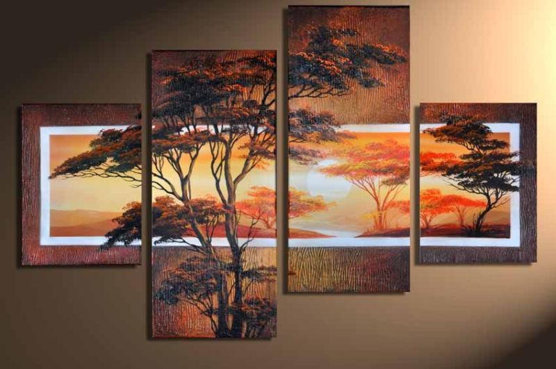 acheter les uvres d 39 art for t sunlandscape africaine peintures l 39 huile sur toile peint la. Black Bedroom Furniture Sets. Home Design Ideas