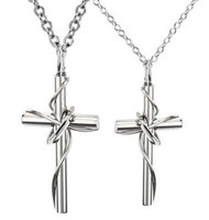 Wholesale Touching love winding L titanium steel Lovers necklace cross necklace mixing Order jewelry