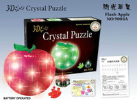 Wholesale new arrival DIY Decoration Toy D Puzzle Crystal Jigsaw christmas gift red with light or mixed