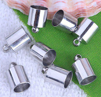 Cheap DIY 7*12mm European Style Rhodium End Beads,Copper Ends Tip Caps,For Leather Cord Jewelry Finding