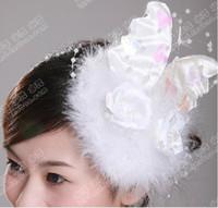 Silk Flower angels head pin - 2011 Fashion Bridal Headdress flower Feather angel wings small head flower hat bride