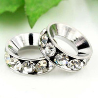 Wholesale 12MM Clear Rhinestone Spacer Jewelry Findings Big Hole Crystal Rondelle European Beads