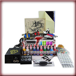 Wholesale Tattoo Kit Machines Guns Power Supply Needles Skins Tips Colors Tattoo Ink Beginner User