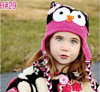 Wholesale owl crochet baby hat children cotton monkey hat with ear animal hat