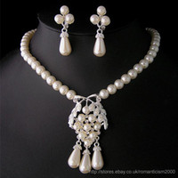 Wholesale Wedding Bridal pearl crystal necklace earring set