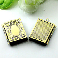 bronze craft - DIY Bronze European Pendant Square Shape Flower Prayer Box Craft Photo Frame Locket Jewelry