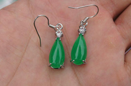 Free Shipping - Beautiful alloy natural green jade earrings, hand-made - drop shape - charm earrings (1 pair price)
