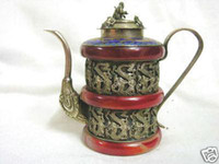 Red red monkey - china Collectable red jade carve dragon monkey lid Tea Kettle