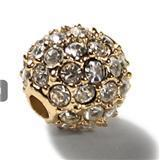 Wholesale 10MM Clear Pave Crystal Rhinestones Round Beads Metal Alloy Gold Plated Fashion Rhinestone Beads
