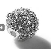 Wholesale 10MM Clear Pave Crystal Rhinestones Round Beads Metal Alloy Silver Plated Charm Rhinestone Beads