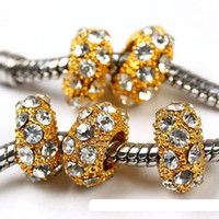 Wholesale 10 x MM White Crystal Rhinestone Spacer Beads Jewelry Findings Fit Charm Bracelets